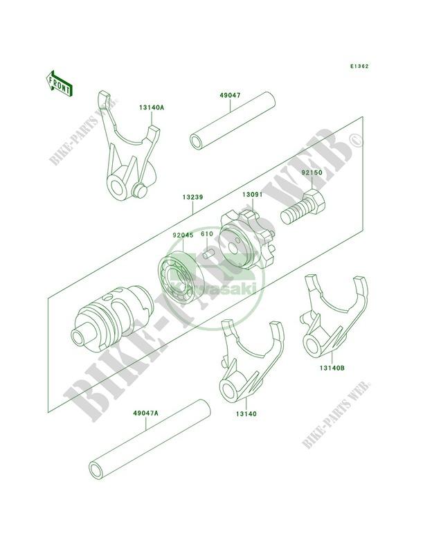 Gear Change DrumShift Forks KX500 E10 KX500 1998 500 MOTOS