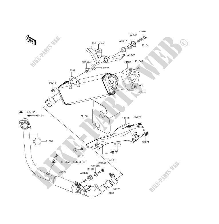 EXHAUST BR250FFS Z250SL ABS 2015 250 MOTOS Kawasaki