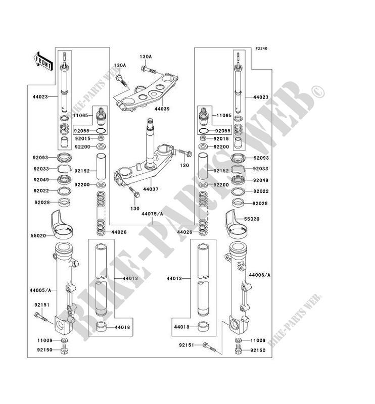 FRONT FORK ZR1200 A1 ZRX1200R 2001 1200 MOTOS Kawasaki