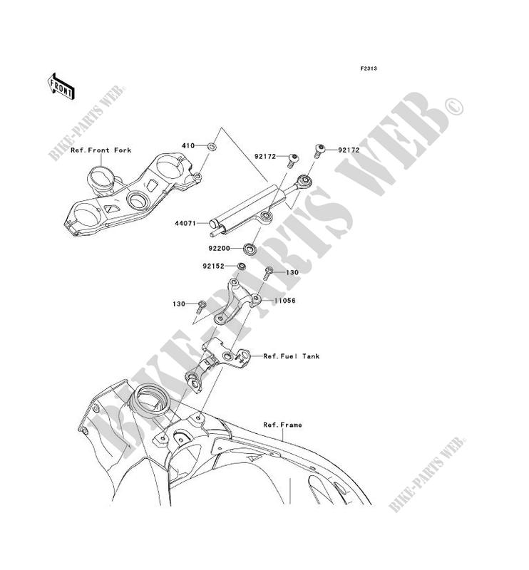 STEERING DAMPER ZX1000JBF NINJA ZX 10R 2011 1000 MOTOS