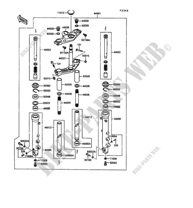 FRONT FORK ZX900 A8 GPZ900R 1991 900 MOTOS Kawasaki