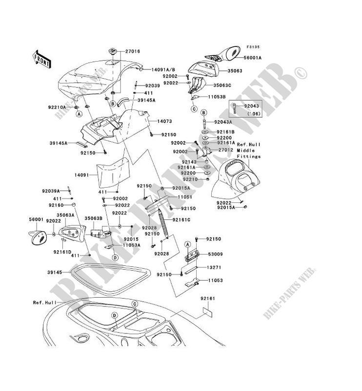 FRONT HULL PARTS for Kawasaki JET SKI STX-12F 2006