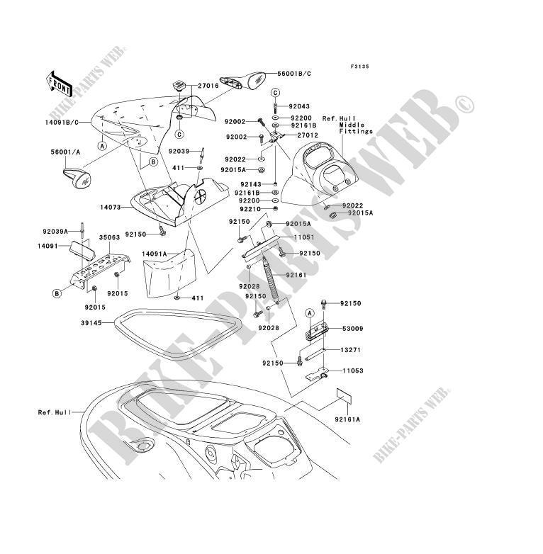 FRONT HULL PARTS for Kawasaki JET SKI 900 STX 2005