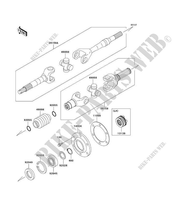 DRIVE SHAFT(ARRIÈRE) for Kawasaki MULE 3010 DIESEL 4X4