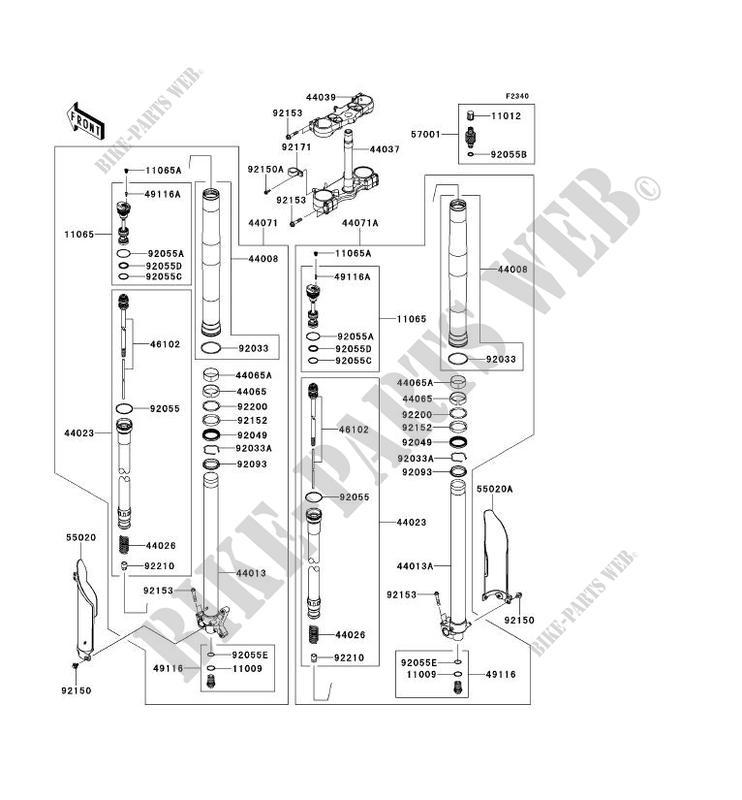 FRONT FORK KX450FEF KX450F 2014 450 TOUT TERRAIN Kawasaki
