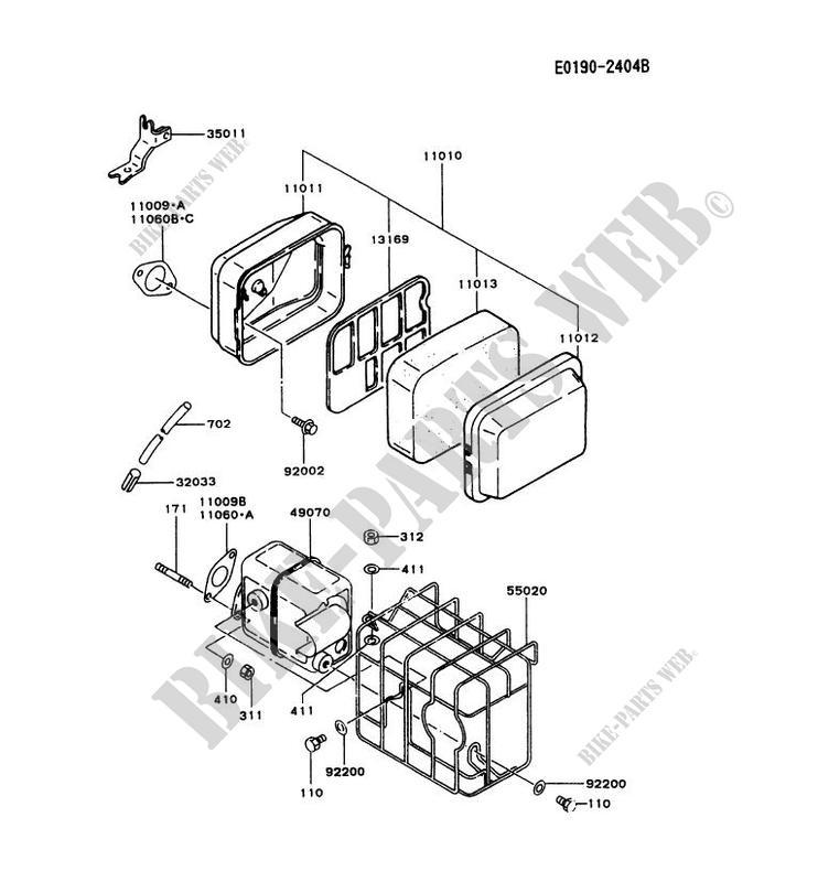 AIR FILTER/EXHAUST for Kawasaki FA MOTORS FA130D