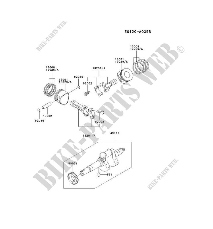 PISTON/CRANKSHAFT for Kawasaki FD MOTORS FD620D
