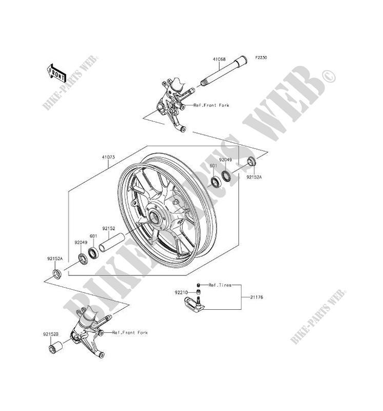 FRONT WHEEL Kawasaki CONCOURS 14 ABS 2016 1400 ZG1400EGF