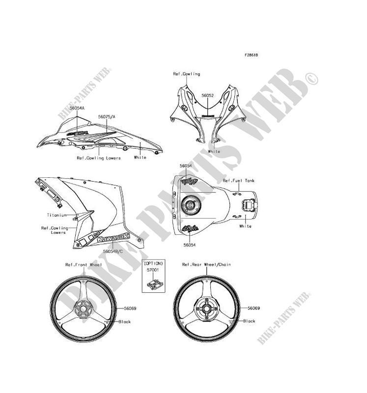 STICKER(WHITE) for Kawasaki NINJA ZX-10R ABS 2017