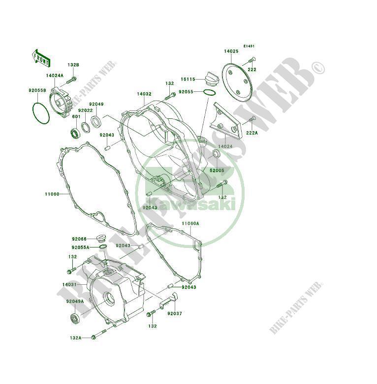 Motorabdeckungen KLF300 B8A KLF300 1995 300 QUAD Kawasaki
