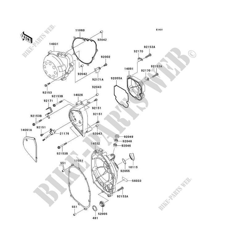 Cubiertas del motor ZR750 J1H Z750 2004 750 MOTOS Kawasaki