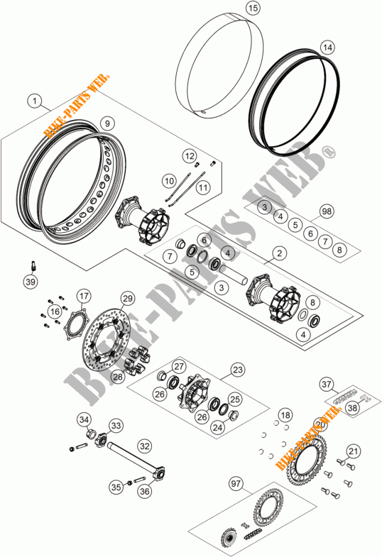 REAR WHEEL for KTM 1190 ADVENTURE R ABS 2014 # KTM