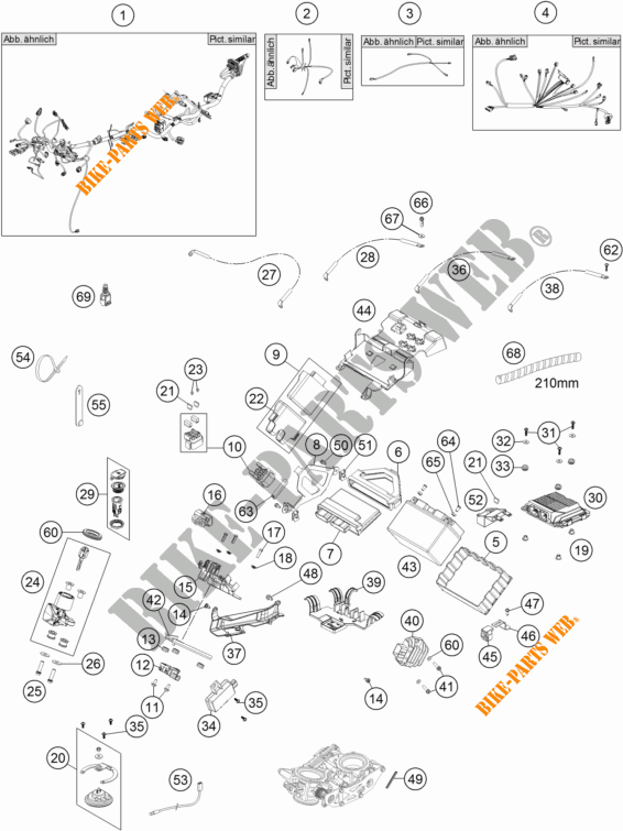 WIRING HARNESS for KTM 1190 ADVENTURE ABS GREY 2016 # KTM