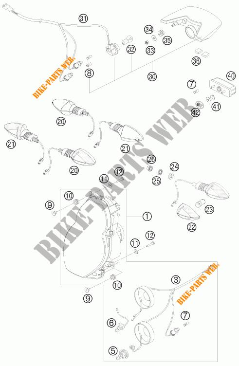 HEADLIGHT / TAIL LIGHT for KTM 990 ADVENTURE R 2009 # KTM