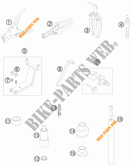 SPECIFIC TOOLS for KTM 990 ADVENTURE R 2009 # KTM