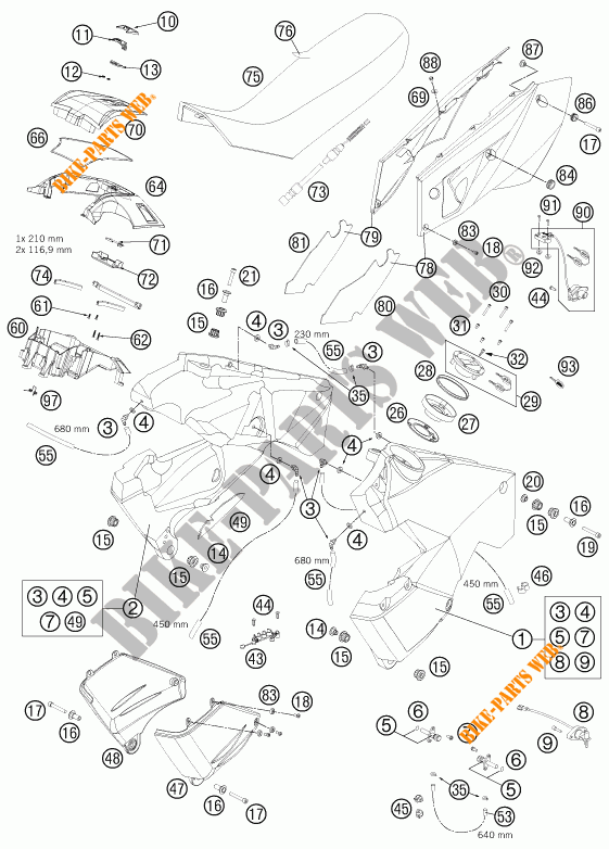 TANK / SEAT for KTM 990 ADVENTURE WHITE ABS 2012 # KTM