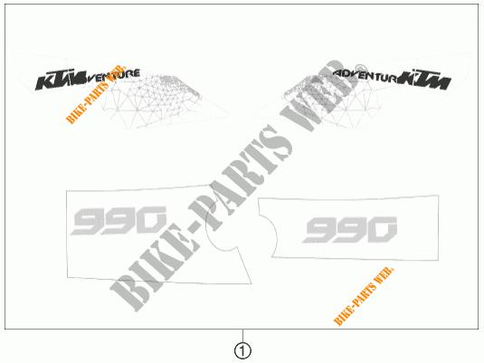 STICKERS for KTM 990 ADVENTURE WHITE ABS 2011 # KTM