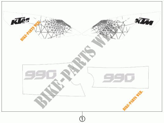 STICKERS for KTM 990 ADVENTURE ORANGE ABS 2011 # KTM