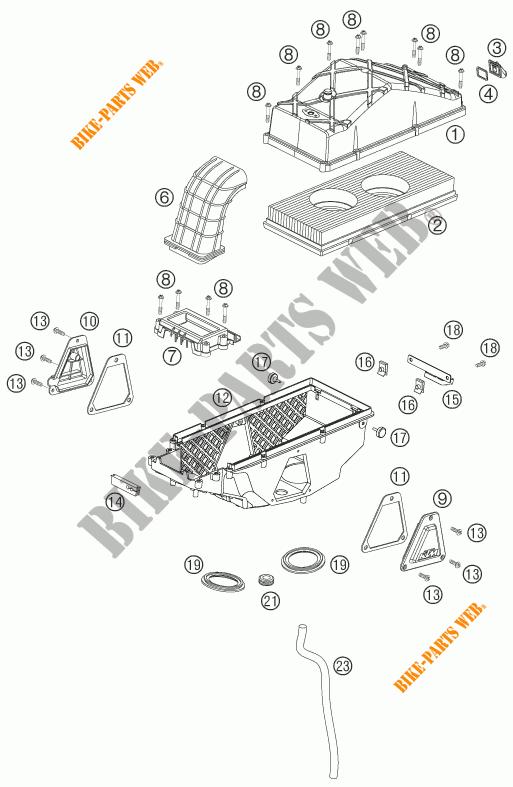 AIR FILTER for KTM 990 ADVENTURE ORANGE ABS 2007 # KTM