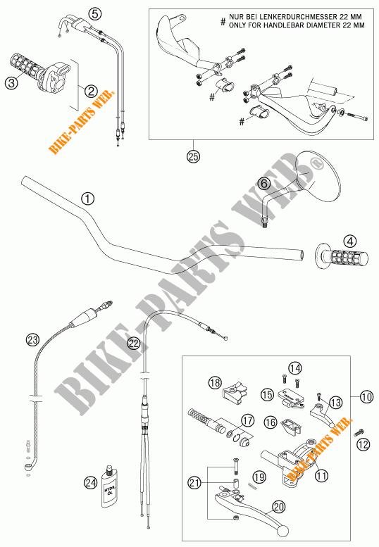 HANDLEBAR / CONTROLS for KTM 950 ADVENTURE ORANGE 2005