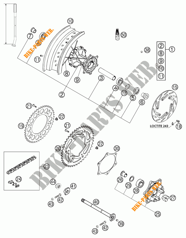 REAR WHEEL for KTM 640 LC4-E SUPERMOTO ROT 2002 # KTM