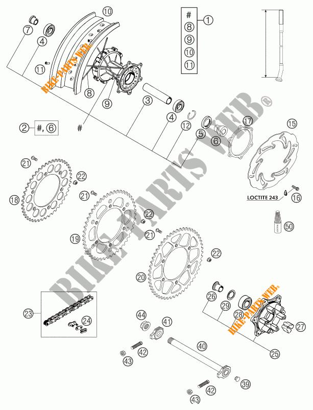 REAR WHEEL for KTM 640 LC4 SUPERMOTO ORANGE 2004 # KTM