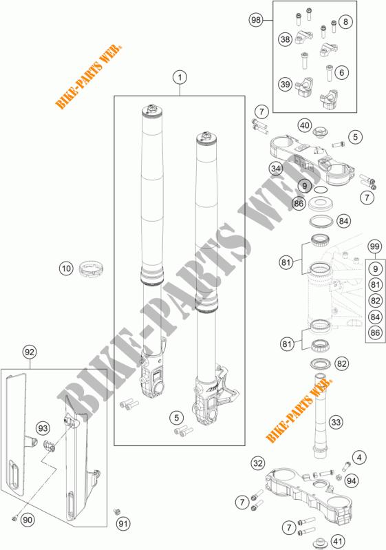 FRONT FORK / TRIPLE CLAMP for KTM 690 SMC R 2017 # KTM
