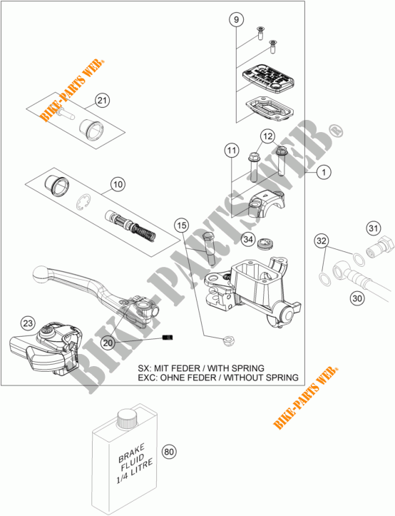 FRONT BRAKE MASTER CYLINDER for KTM 300 XC-W SIX DAYS 2015