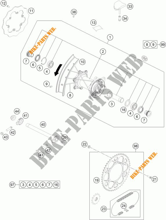 REAR WHEEL for KTM 300 EXC TPI SIX DAYS 2018 # KTM