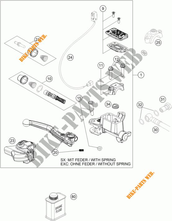FRONT BRAKE MASTER CYLINDER for KTM 300 EXC TPI 2018 # KTM