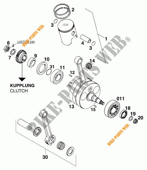 CRANKSHAFT / PISTON for KTM 300 EXC MARZOCCHI/OHLINS 1997