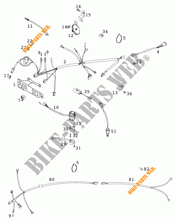 WIRING HARNESS for KTM 125 EXC SIX-DAYS 2001 # KTM