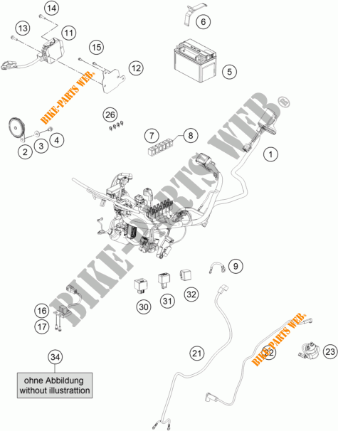 WIRING HARNESS for KTM RC 250 WHITE ABS 2016 # KTM