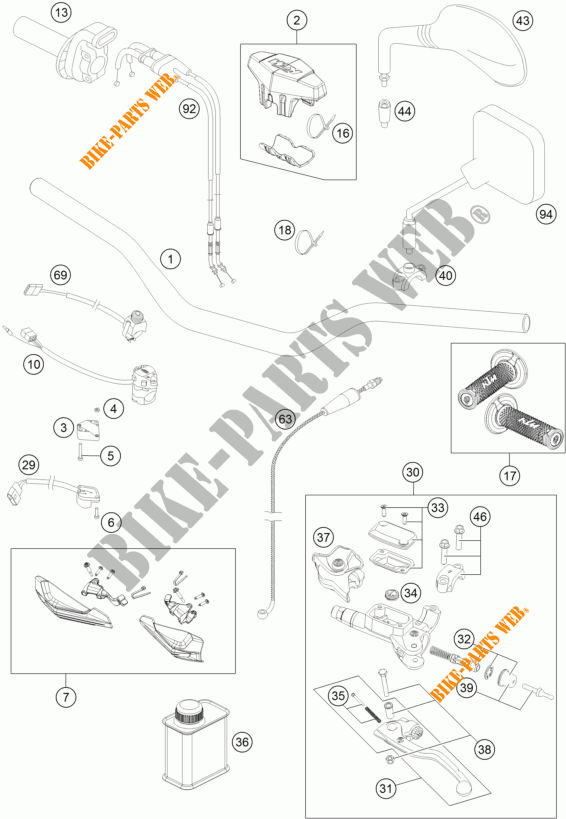 HANDLEBAR / CONTROLS for KTM 450 EXC SIX DAYS 2014 # KTM