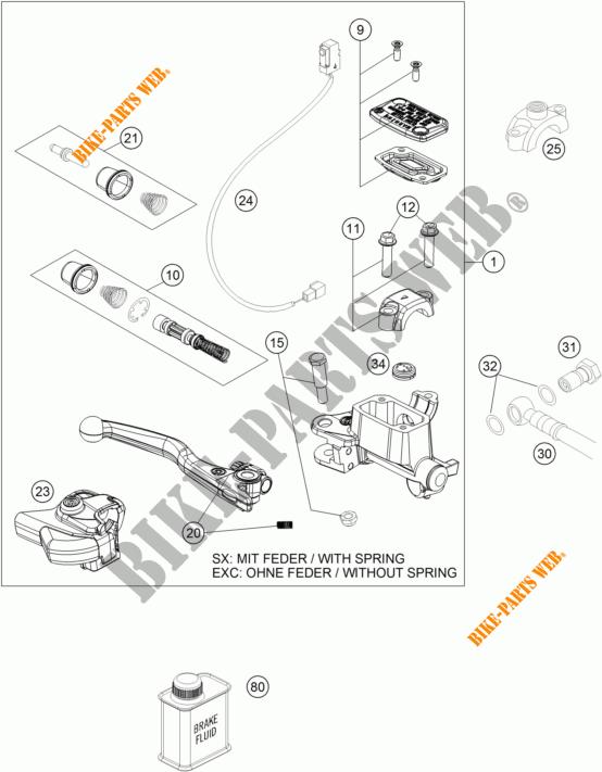 FRONT BRAKE MASTER CYLINDER for KTM 350 EXC-F SIX DAYS