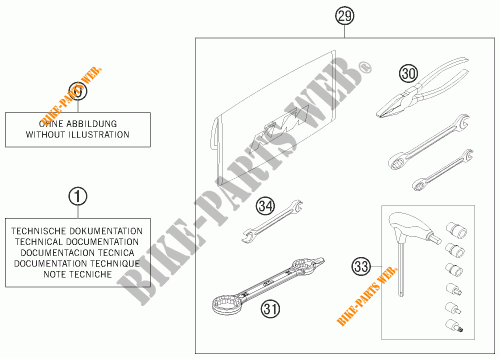 TOOL KIT / MANUALS / OPTIONS for KTM 350 EXC-F SIX DAYS