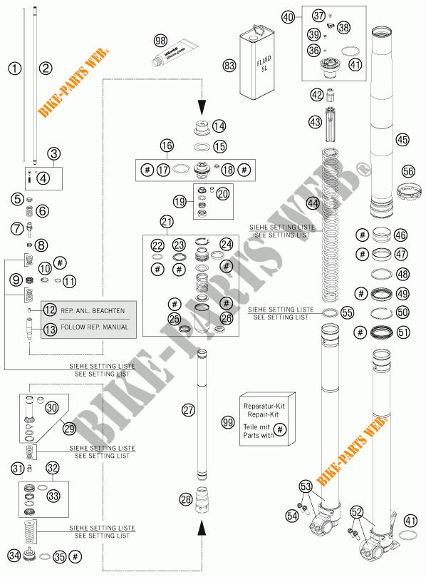 FRONT FORK (PARTS) for KTM 350 EXC-F SIX DAYS 2013 # KTM