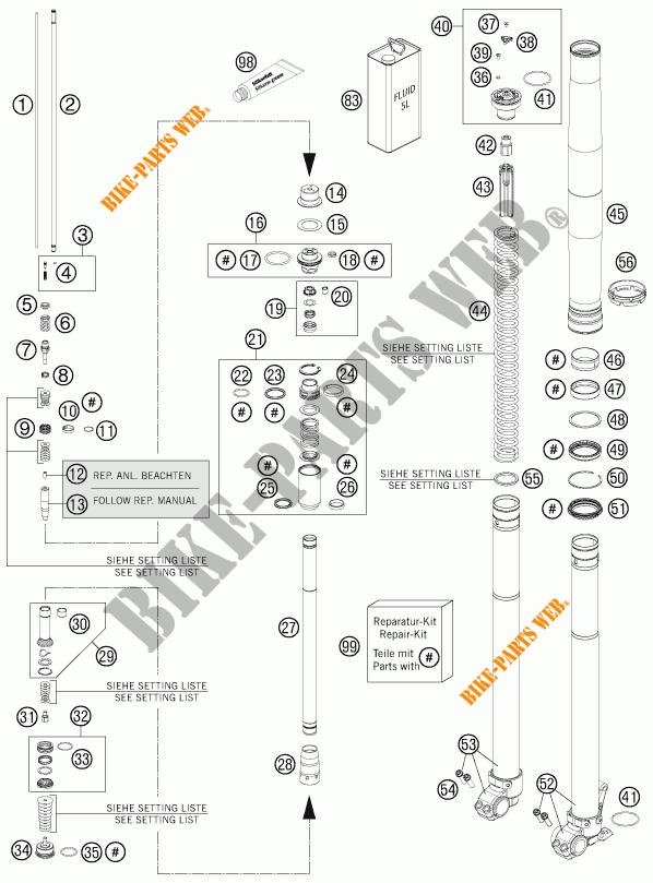 FRONT FORK (PARTS) for KTM 250 EXC SIX-DAYS 2013 # KTM