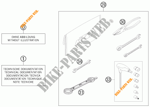 TOOL KIT / MANUALS / OPTIONS for KTM 200 EXC 2015 # KTM