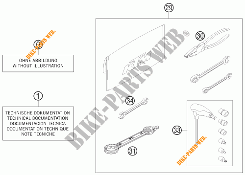 TOOL KIT / MANUALS / OPTIONS for KTM 125 SX 2013 # KTM