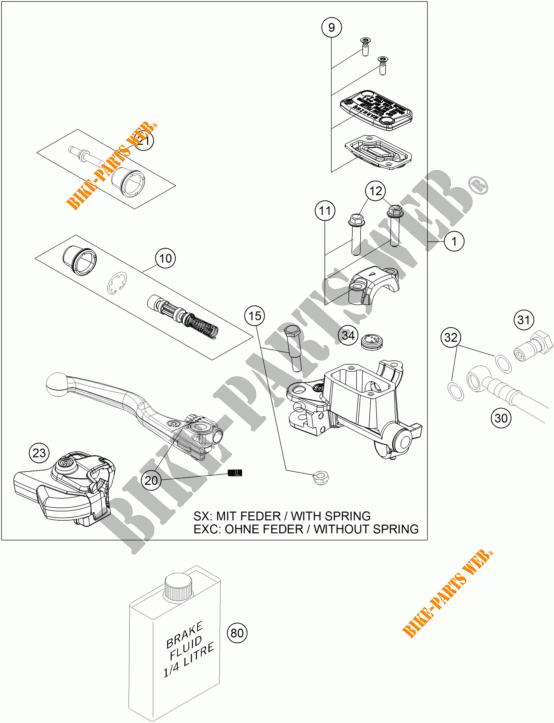 FRONT BRAKE MASTER CYLINDER for KTM 450 SX-F 2018 # KTM