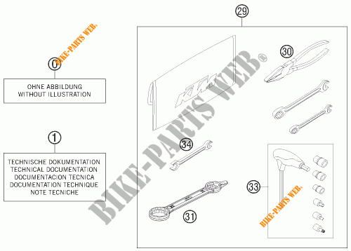 TOOL KIT / MANUALS / OPTIONS for KTM 350 SX-F CAIROLI