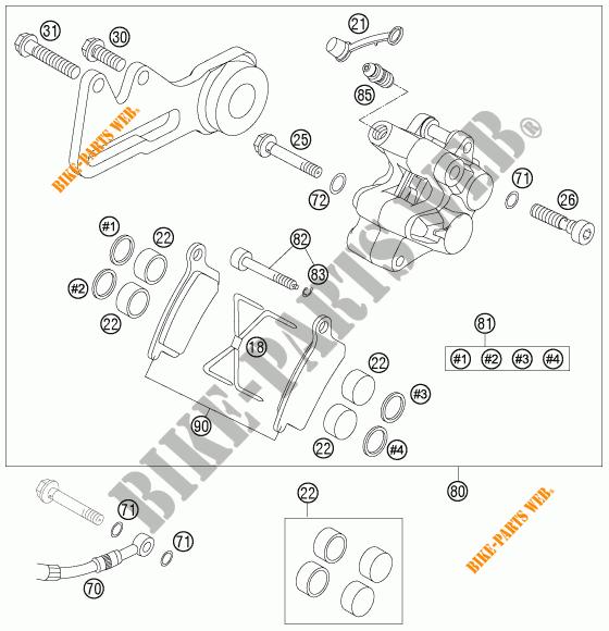 REAR BRAKE CALIPER for KTM 85 SX 19/16 2007 # KTM