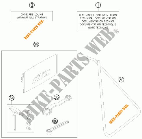 TOOL KIT / MANUALS / OPTIONS for KTM 50 SX MINI 2015 # KTM