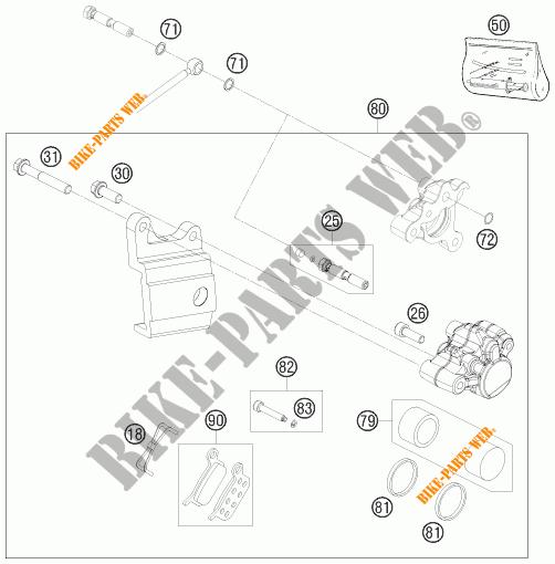 REAR BRAKE CALIPER for KTM 50 SX JUNIOR 2009 # KTM