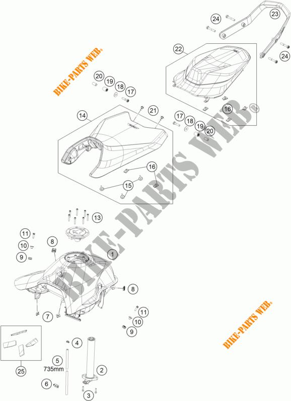 TANK / SEAT for KTM 790 DUKE L 35KW A2 ORANGE 2019 # KTM