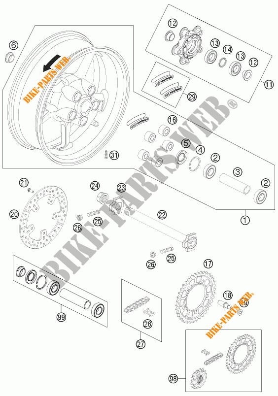 REAR WHEEL for KTM 990 SUPER DUKE BLACK 2011 # KTM