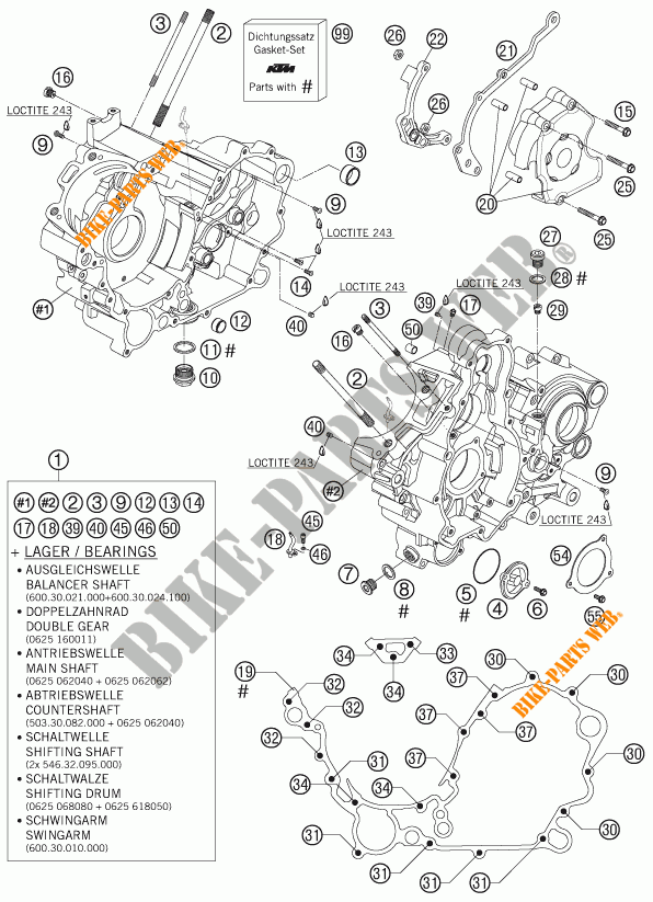 CRANKCASE for KTM 990 SUPER DUKE ANTHRAZIT 2007 # KTM