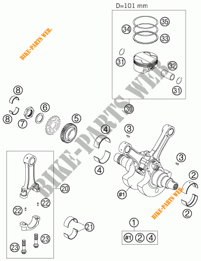 CRANKSHAFT / PISTON for KTM 990 SUPER DUKE ORANGE 2005
