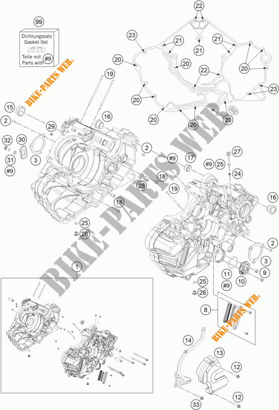CRANKCASE for KTM 1290 SUPER DUKE GT ORANGE 2017 # KTM